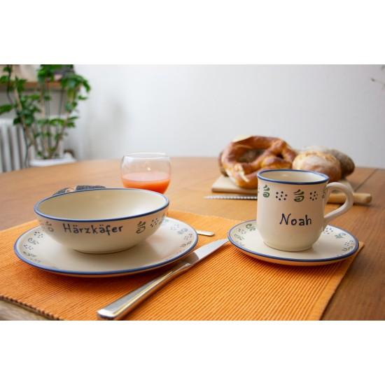 Named Mug/Saucer/Breakfast plate/Bowl - Amerland Set of 4