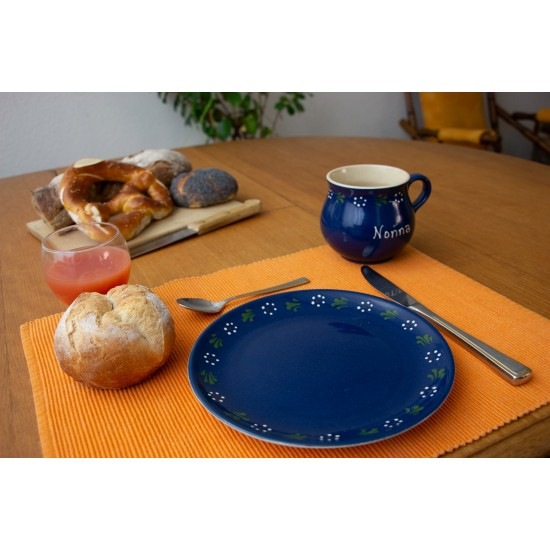 Molly Mug/Breakfast plate - Bunzlau blue Set of 2