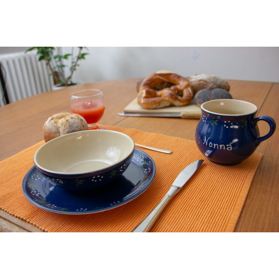 Molly mug & Breakfast plate & Bowl - Bunzlau blue Set of 3
