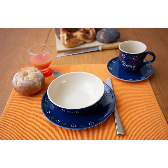 Named Mug/Saucer/Breakfast plate/Bowl - Bunzlau blue Set of 4