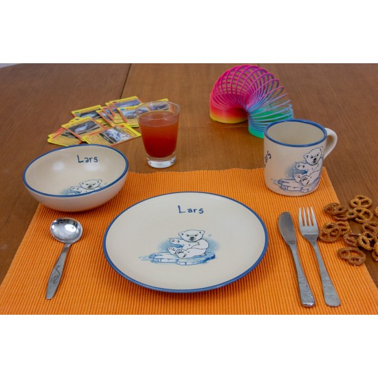 Named childre cup & Breakfast plate & Bowl - Icebear Set of 3