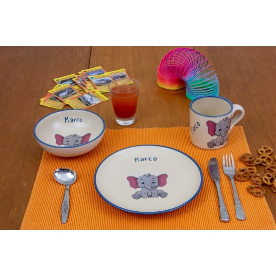 Named childre cup & Breakfast plate & Bowl - Elephant Set of 3