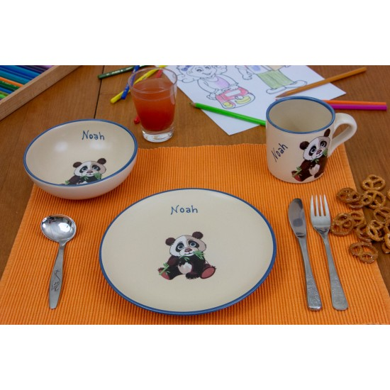 Named childre cup & Breakfast plate & Bowl - Panda Set of 3