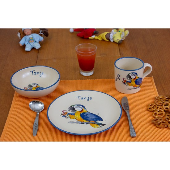 Named childre cup & Breakfast plate & Bowl - Parrot Set of 3