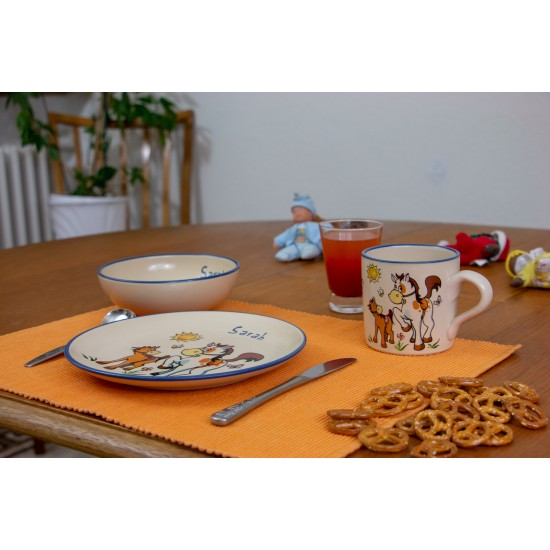 Named childre cup & Breakfast plate & Bowl - Horse/Pony Set of 3