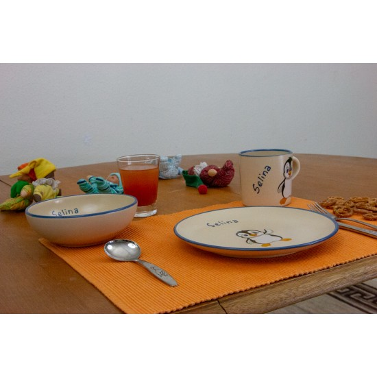 Named childre cup & Breakfast plate & Bowl - Penguin Set of 3