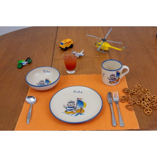 Named childre cup & Breakfast plate & Bowl - Seal Captain Set of 3