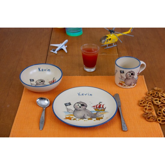 Named childre cup & Breakfast plate & Bowl - Seal Pirate Set of 3