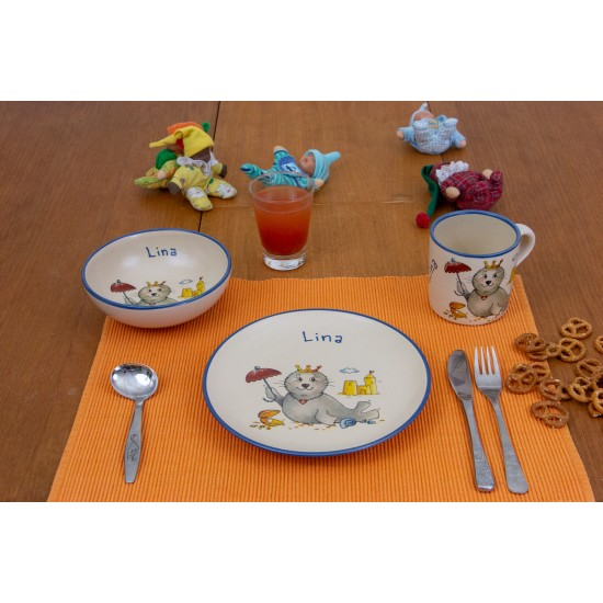 Named childre cup & Breakfast plate & Bowl - Seal Princess Set of 3