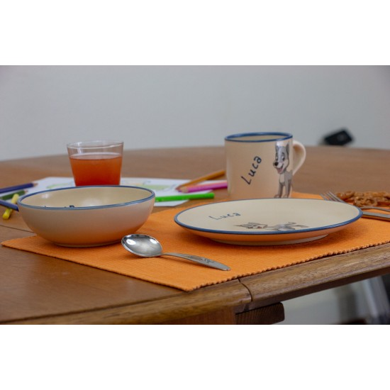 Named childre cup & Breakfast plate & Bowl - Wolf Set of 3