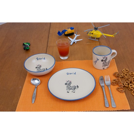 Named childre cup & Breakfast plate & Bowl - Zebra Set of 3