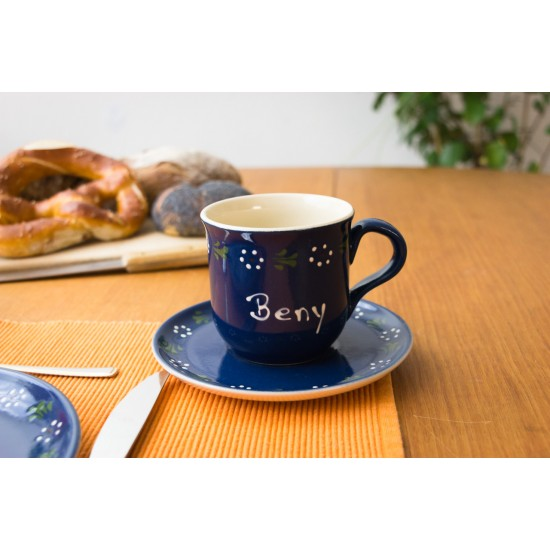 Named Mug/Saucer - Bunzlau blue Set of 2