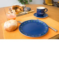 Namenstasse/Unterteller/Frühstücksteller - Bunzlau blau 3er-Set