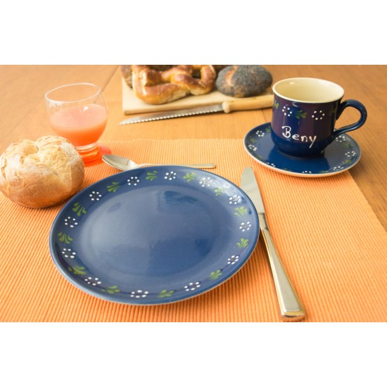Named mug/Saucer/Breakfast plate - Bunzlau blue Set of 3