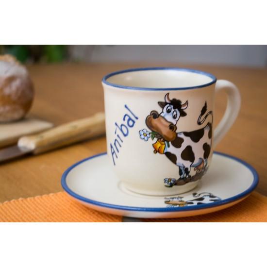 Named mug/Saucer - cow Set of 2