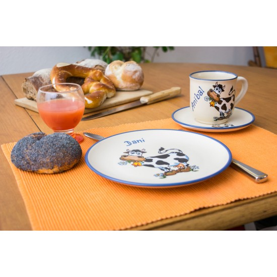 Named mug/Saucer/Brakfast plate - cow set of 3